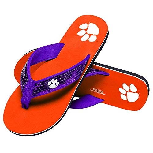 Tigers Flip Flop Sandals - Clemson Tigers NCAA Womens Sequin Flip Flops - M
