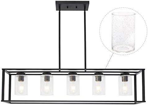 VINLUZ Modern Chandeliers Farmhouse Lighting 5 Lights Black