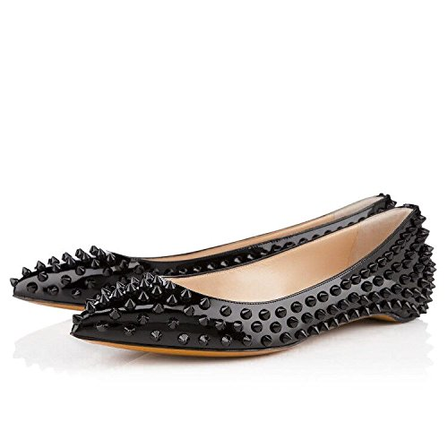 Studded Flat Ballerina - Onlymaker Ladies Elegent Pointed Toe Rivet Studded Ballet Flat Shoes for Wedding Party Black 10 M US