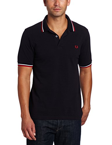 Fred Perry Men's Twin Tipped Polo Shirt-M3600, Navy/White/Red, XX-Large