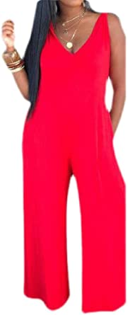 Cromoncent Womens Sleeveless Wide Leg Rompers Jumpsuits with Pocket