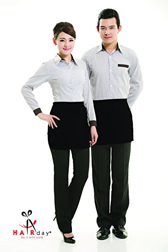 "Waist Apron With 3 Pockets – 2 Pack – 100% Cotton Black Men's and Women's Half Aprons For Servers, Bartenders and Hair Stylists – 20"" x 12"" - HairDay Care"