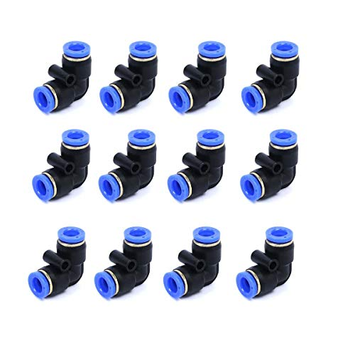 - Pneumatic Tube Fitting,Plastic Push to Connect Fittings, 8mm Tube Elbow Connect, Push Fit Fittings Pipe Tube Fittings Pack of 12.