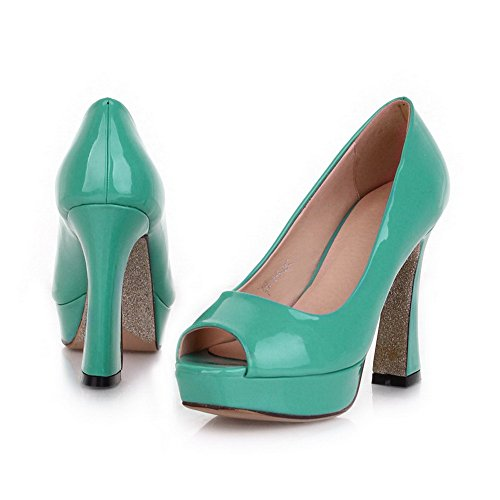 VogueZone009 Womens Open Peep Toe High Heel Platform Chunky Heels PU Patent Leather Solid Pumps, Green, 4.5 UK