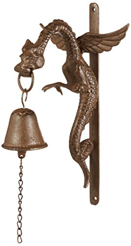 (Design Toscano Florentine Dragon Gothic Decor Hanging Bell Wall Sculpture, 12 Inch, Cast Iron, Bronze Finish)