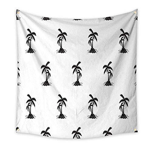 homehot Tapestry for Teen Girls Coconut Tree Palm Island Illustration Seamless Pattern Vector Wallpaper Living Room Bedroom Dorm Decor 32W x 32L Inch ()