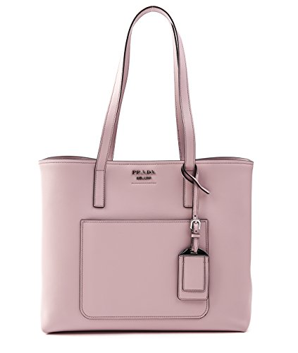 Wiberlux Prada Women's Silver Logo Detail Leather Shoulder Bag With Removable Pouch One Size Light Pink