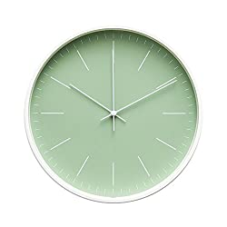 """Arospa Contemporary Interior Design Minimalist Palette 12"""" Silent Non-Ticking Sweep Wall Clock with White Gloss Frame (Seafoam Green)"""