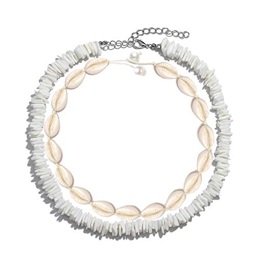 (HSWE Cowrie Shell Choker Necklace for Women Puka Shell Necklace for Men Seashell Necklace for Girls Summer Hawaiian Jewelry Set (Shell Necklace Set #1))