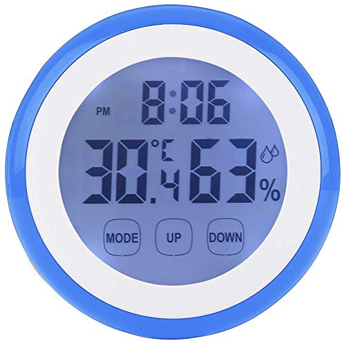 UMEXUS Kids Alarm Clock Thermometer Hygrometer Touchscreen LED Display Digital Clock for Kids Battery Operated Clock for Boys Girls Bedroom/Office(Blue)