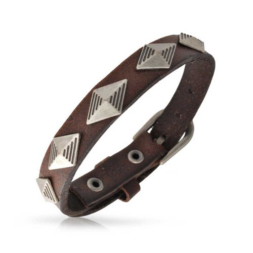 (Bling Jewelry Genuine Brown Leather Studded Pyramid Rivet Stainless Steel Cuff Bracelet for Men for Women Bikers Belt Buckle)