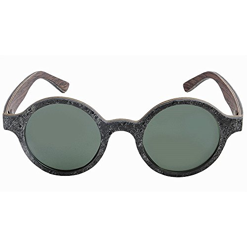 mano a estilo calidad conducción Retro UV de forma madera la de hecho de sol alta hombres retro de Pequeño polarizadas piedra redonda TAC y lente Gris gafas sol de de protección de gafas pesca de los playa ggqzA8x