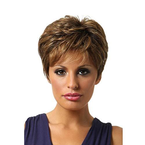 SGEARF Peluca de mujer marron oscuro corta, personalidad esponjosa, pelo rizado degradado, elegante peluca sintetica para uso diario