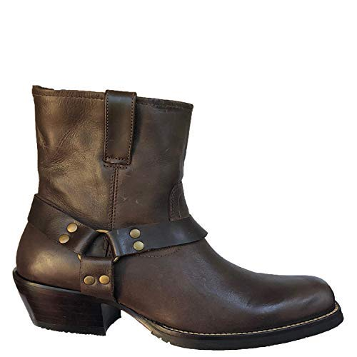 Tucson's Zipper Silverado Men's Leather Square Toe Western Boot with Low Cut in Camel Fossil Size 7.5