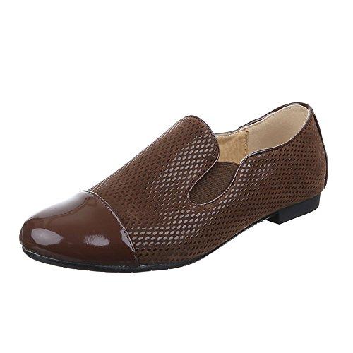 Ital-Design Damen Schuhe, 6223-1, Halbschuhe Stretch Slipper Braun