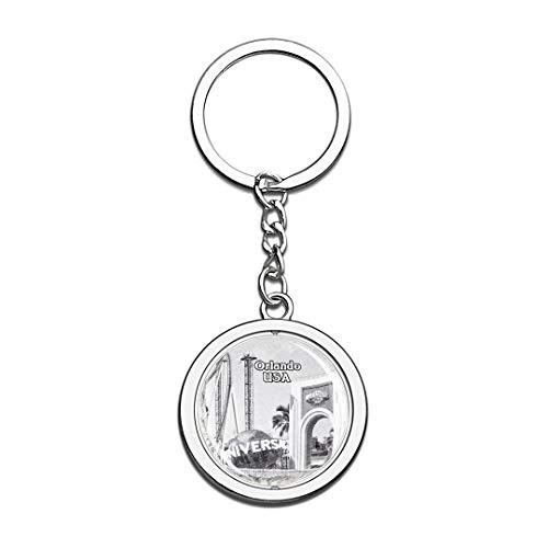 USA Universal Studios Florida Orlando Sketch Keychain 3D Crystal Spinning Round Stainless Steel Keychains Travel City Souvenirs Key Chain -