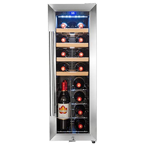 AKDY 20 Bottles Compressor Freestanding Wine Cooler Refrigerator Touch Panel Single Zone Chrome Wire Standing Shelves Key Lock