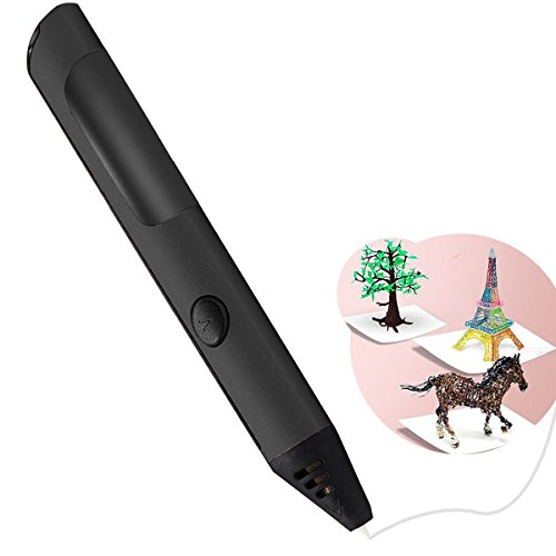 3D Doodler Pen For Printing Drawing Modeling Arts Crafts With Voice System - Full Kit with PLC Refill Filaments (Black) (Plc System)