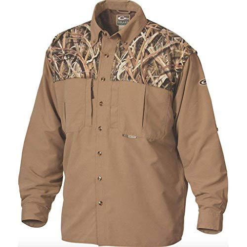 Drake Two-Tone Vented Wingshooter Long Sleeve Shirt (Mossy Oak Shawdow Grass Blades) ()