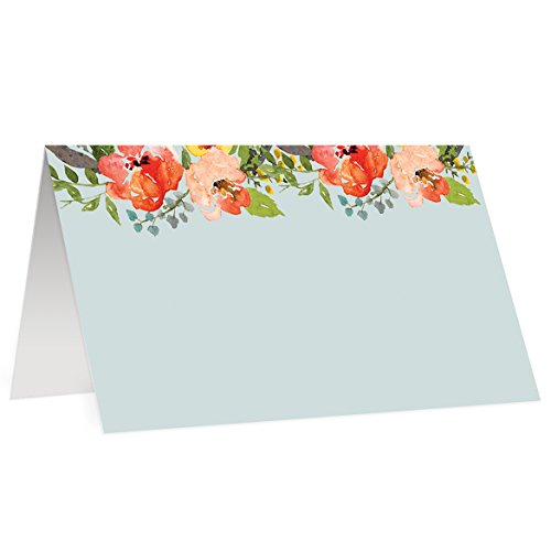 50 Boho Floral Place Cards Tented Blue Wedding Baby Shower Engagement Party Folded Blank Fill In Table Name Tags Seating Cards Placecard Escort Digibuddha Event Decor 3.5