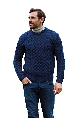 (Traditional Wool Crew Neck Aran Sweater (Small) Pacific Blue)