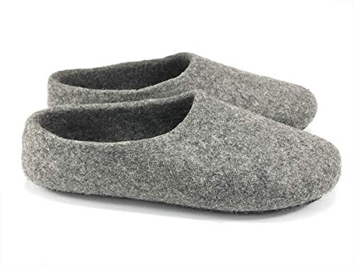 Kyrgies Classics High Back Artisan Wool Slippers, Grey, 41 EU (Mens Boiled Slippers)