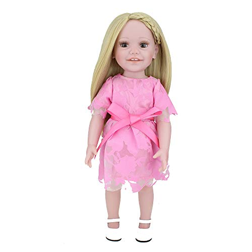 (CHAREX Adorable 18 Inch Vinyl Girl Doll, Blonde Long Hair, Including Pink Dress and Matching Shoes Toy Gift Set for)