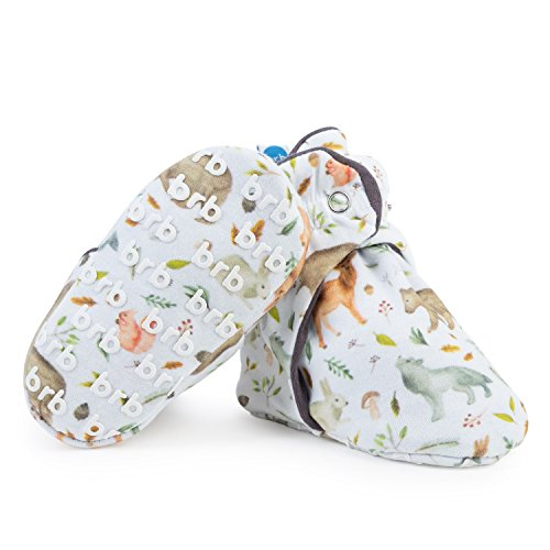 (Lightweight Organic Cotton Baby Booties - Grippers, 3 Snaps - No Sock Bootie for Newborn or Infant Boys & Girls (Yellowstone, US 1))