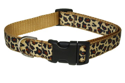 Sassy Dog Wear 18-28-Inch Natural Leopard Dog Collar, Large