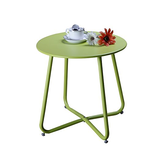Grand Patio Steel Patio Coffee Table, Weather Resistant Outdoor Side Table, Small Round End Tables, Green (Chairs Lounge Chaise Unusual)