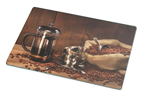 Rikki Knight Sack of Coffee Beans with French Press Large Glass Cutting Board