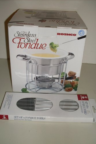 9 Piece Stainless Steel Fondue Including Pot, Fork Guard, Chafing Fuel Burner, Forks, Stoneware Insert, and Stand