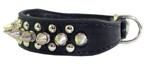8-10-Faux-Leather-Spiked-Studded-Punk-Dog-Collar-78-Wide-for-SmallX-Small-Breeds-and-PuppiesBlack