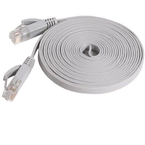 Fosmon Networking Cat5e Flat Tangle Free Ethernet Patch Cable (10 Feet, Gray), Best Gadgets