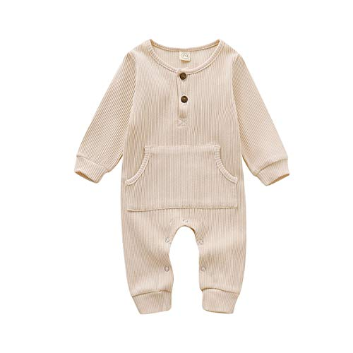 GRNSHTS Baby Boys Girls Jumpsuit Unisex Toddler Ruffle Long Sleeve with Pocket Autumn Winter Outfit (Apricot, 6-12 Months)