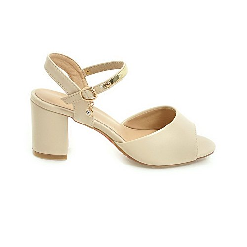 BalaMasa Womens Sandals Peep-Toe Buckle Ankle-Wrap High-Heel Cold Lining Not_Water_Resistant Peep-Toe Huarache Urethane Sandals ASL04290 Beige MSOPW6uP