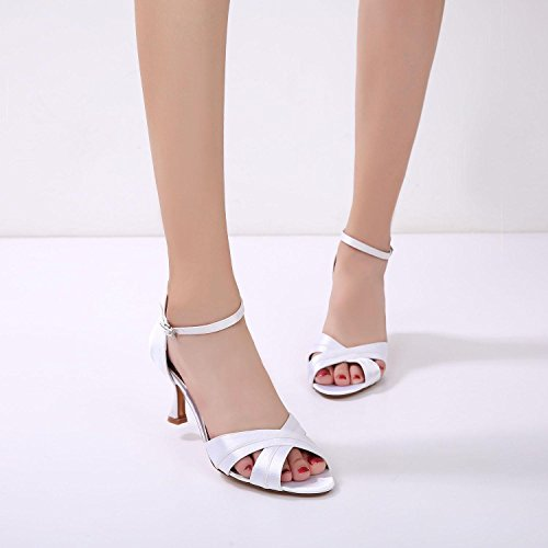 Size L Shoes Plata Peep yc Ml17061 Party Boda Señoras Toe Tarde azul Las White 33 Mujeres De La Sandals marfil 1Zgn1r6T
