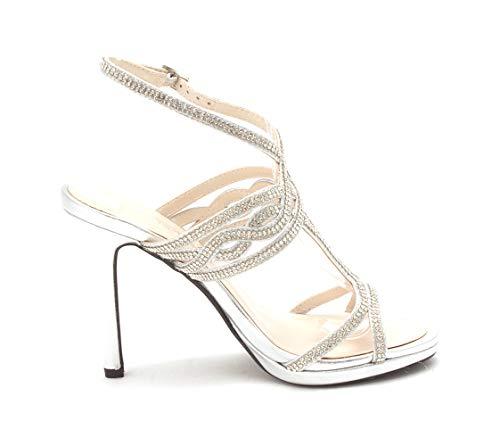 Caparros Womens Heather Open Toe Bridal Slingback, Silver Metallic, Size 5.0