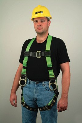 Miller(R) Universal Green HP Series Non-Stretch Full Body Harness With Back And Side D-Rings, Tongue Buckle Leg Straps, Tool Belt Loops, Mating Buckle Chest Strap, Pull Free Lanyard Rings And -