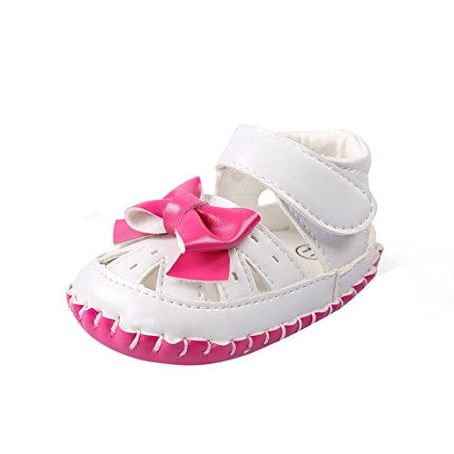 BOBORA Bebe Ninas Verano Zapatos Suave PU Sandalias Con Bowknot Zapatos Huecos Rosa rojo