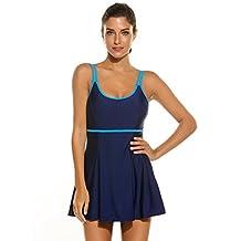 Ekouaer Women's Swimwear One Piece Swimsuit Tankini Cover Up Swimdress Plus Size