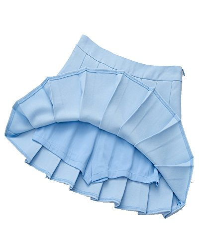 Alta Gonna Azzurro Pieghe Mini Versatile Vita Da Plissettata Donna CPq0txw