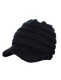 GRE1BEE Women Beanie Tail Soft Stretch Trendy Winter Messy High Bun Ponytail Hat