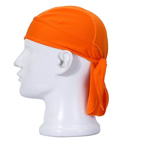 (Koolip Adjustable Sweat Beanie Bandana Head Wrap-Bicycle Running Mask Doo Rag Skull Cap-Bike Motorcycle Head Wrap Scarf for Men Women (Orange))