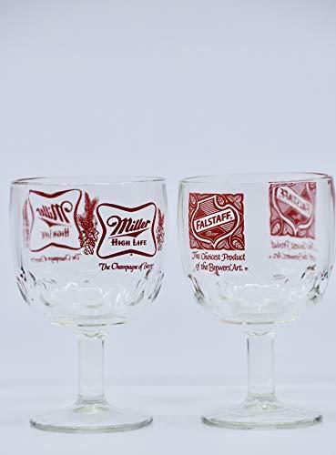 1960's & 70's - 6 Vintage Glass Beer Goblets - Falstaff/Miller/Busch/Hamm's/Michelob/Each 16 Ounce Stemmed Barware - Collectible