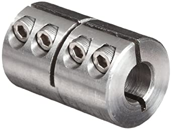"""Climax Metal ISCC-037-037-S Clamp Coupling, Stainless Steel Grade 303, 3/8"""" Bore , 7/8"""" OD, With 6-32 x 3/8 Set Screw"""