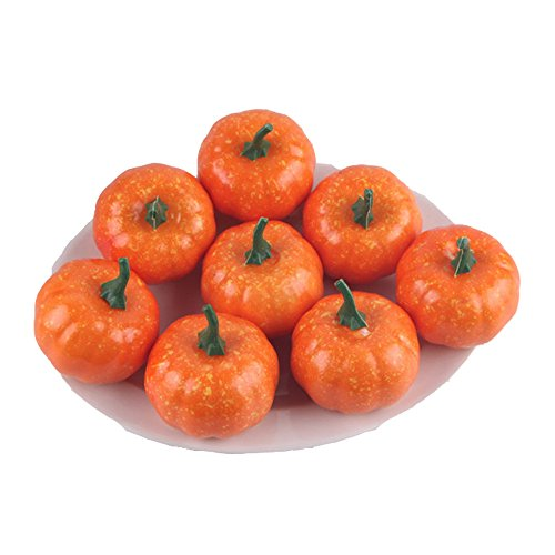 Pack of 16 Fake Fruit Home Kitchen Small Squash Fake Artificial Foam Mini Orange Pumpkin Halloween house Decoration (16, 2.2 Inch) by HappySUN (Image #3)