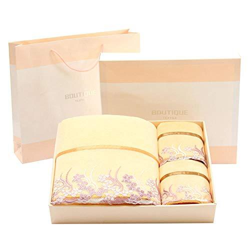 Luxury Lace Towel Set - Towel Bath Towel Gift Set Luxury Set, 3 Sets of lace, Wedding Gifts, Microfiber, Super Soft Water, Bathroom Milky White Set of 3