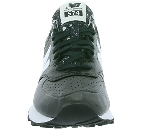 New Balance 574 Schuhe Damen Sneaker Turnschuhe Schwarz mit Glanzeffekt, Größenauswahl:36