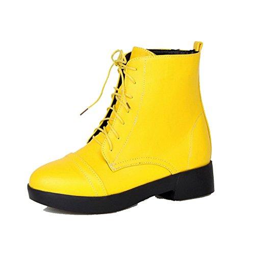 AllhqFashion Mujeres Mini Tacón Sólido Puntera Redonda Material Suave Cordones Botas Amarillo